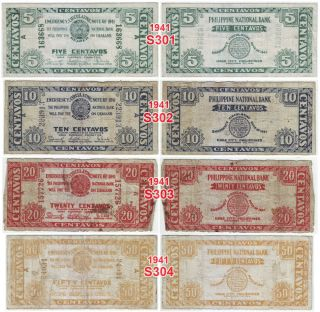 1941 1944 Mixed Lot of 8 Iloilo Emergency Circulating Notes