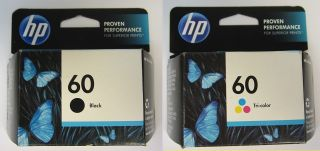 HP Combo Pack 60 Black and 60 Tri Color Office Jet Ink Cartridges