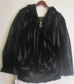 Iman Reversible Faux Fur Jacket Black Sz 1X NEW HH34 65 143824001484