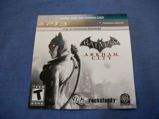 Batman Arkham City PS3 Code for  to Play as Catwoman