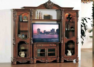Traditional Entertainment Center Wall Unit Old World