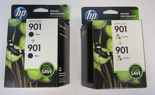HP Combo Pack of 2 901 Blacks and 2 901 Tri Color Office Jet Ink