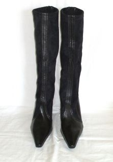 Franco Sarto Black Knee High Boots Stretch Womens 8 Pointed Toe 3 inch