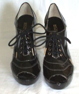Michael Kors Black Patent Leather Lace Up Pump Womens 8 5 Open Toe 4 5
