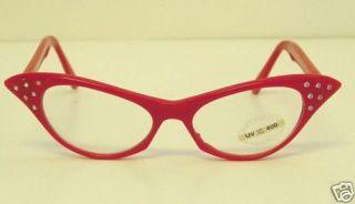 Rhinesone Glasses Red Caseye Clear Lens 50s Sock Hop Car Show