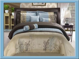 PC Embroidered Floral Comforter Set Bed in A Bag King Blue Brown