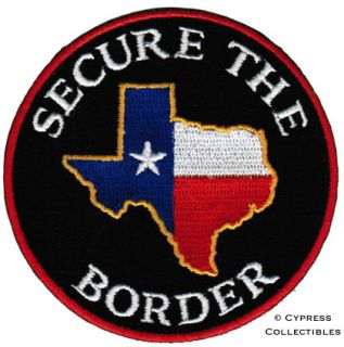 THE BORDER PATCH   TEXAS IMMIGRATION LAWS FLAG APPLIQUE IRON ON BIKER