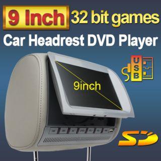 Gray 2x9 Headrest DVD Player LCD Screen FM Transmit+ Free InfraRed