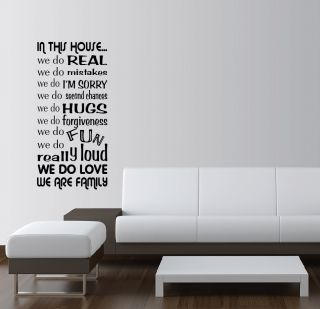In This House We do Vinyl Wall Word Art Quotes Sayings Lettering