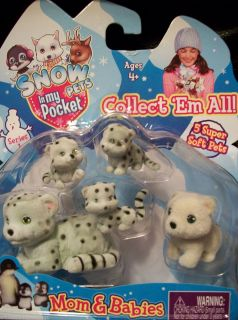 SNOW PETS Puppy in My Pocket RARE Snow Leopard Family Mom Babies Polar