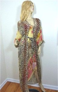 NWT $400 Jonquil Large Nightgown Robe Leopard Floral Couture 100 Silk