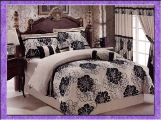 Pcs Luxury Flocking Floral Comforter Set Bed in A Bag Queen Beige