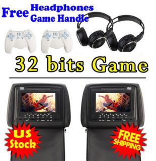 Black 2X 7 inch Car Headrest DVD Player Radio TV Monitor Headphones