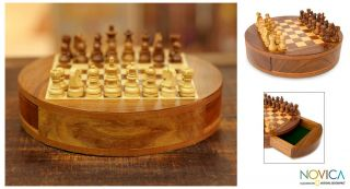 Circle Hand Carved Wood Chess Set India Art Novica New