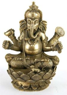 Bronze Ganesh Statue Hindu God Elephant Deity India 6