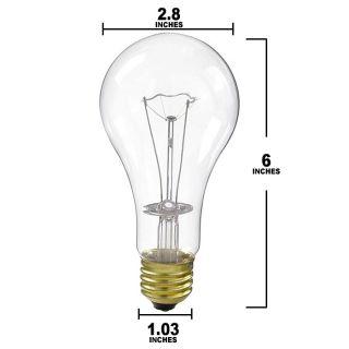 S3983 200W 130V A23 Clear E26 Base Incandescent Light Bulb