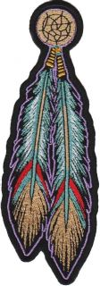 Tribal Feathers Indian Ladies Embroidered Biker Patch