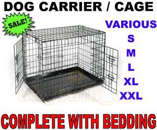 Folding Dog Cat Pet Crate Cage Carrier Folds Flat Bedding 24 30 36