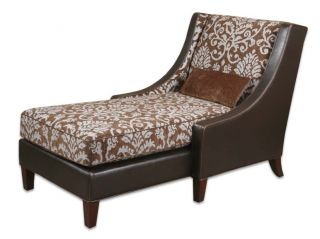 Chocolate Brown Dark Floral Faux Leather Chaise Lounge
