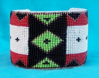 Dog Soldier Mens Native American Indian Beaded Cuff Bracelet