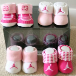 pair gift set Nike Air Jordan 23 Baby Booties socks crib shoes pink