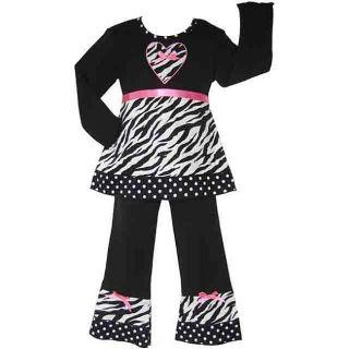 Ann Loren Boutique Girls Zebra and Dots Shirt and Pants Set