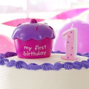 Girls First 1st Birthday Pink Cake Cupcake Topper with Candle