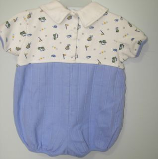 Golf Bubble Romper First Moments Layette 3 6 MO Baby Boy or Reborn