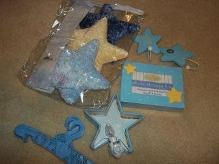 lot of baby boy blue wall hangers star hooks nightlight photo storage