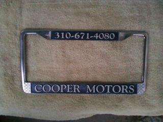 Inglewood California Cooper Motors Vintage Dealer License Plate Frame