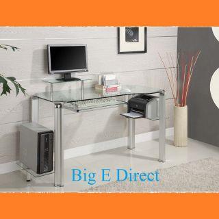 New Contemporary Glass Desk Table Clear Computer Printer Monitor