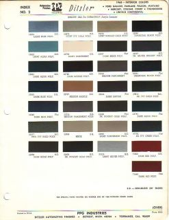 Galaxie Mercury Comet Lincoln Interior Color Paint Chips