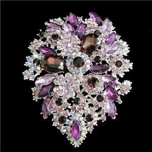 94 Flower Drop Brooch Pin Pendant Rhinestone Crystal Purple Floral