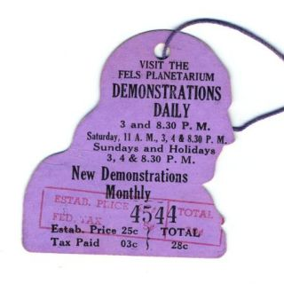 Franklin Institutue Admission Hang Tag 1940S