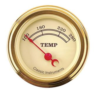 New Classic Instruments Vintage Water Temperature Temp Gauge, Gold