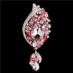 Flower Drop Pin Brooch Swarovski Crystal Pink Leaf Pendant