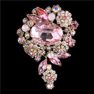Flower Oval Leaf Pin Brooch Pink Rhinestone Crystal Pendant