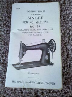 Vintage Instruction manual Singer Sewing Machine 66 14 Oscillating