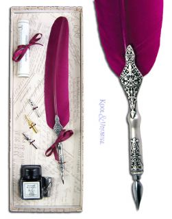 FUSCHIA PINK Italian Feather QUILL Pen and Ink Holder Set with Nibs
