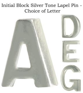 Initial Block Silver Tone Lapel Pin Choice of Letter