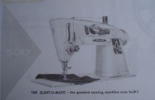 Singer 500 Sewing Machine Parts List Instruction Manual