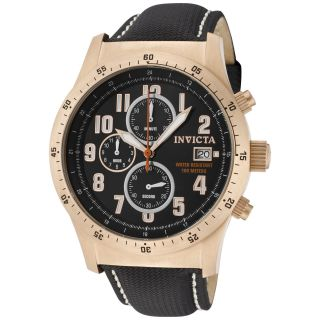 Invicta 1319 Mens Chronograph Rose Gold Tone Black Dial Watch