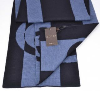 281601 BLUE & BLACK COLORBLOCK INTERLOCKING GG LOGO WOOL MUFFLER SCARF