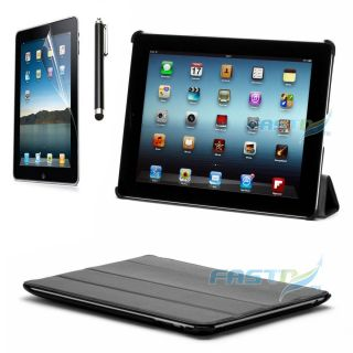 APPLE IPAD 3 BLACK LEATHER HARD CASE COVER WITH STAND +STYLUS + SCREEN