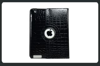 iPad 2 Cover Smart Leather Cover Case Stand 360 Rotate Black Color