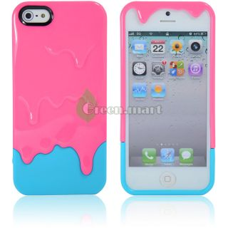 Ice Cream Hard Case Cover for iPhone 5 5g 5th Gen Pink Blue GM