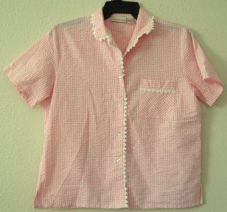 Intimate Essentials Vtg Sleepwear Pajama Top Shirt M