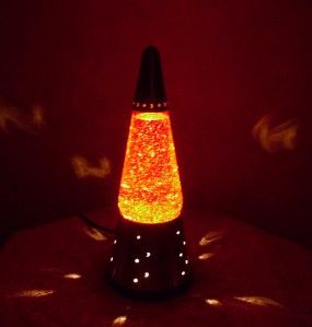Retro Red Glitter Vtg Bullet Lava Lite Lamp Mid Century Space Age Moon