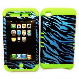 Phone Cover for Apple iPod Touch 4 4th Gen Blue Zebra Print Green Case