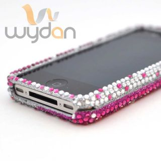 New Pink Silver Blend Bling iPhone 4 4S Case Hard Snap on Cover w